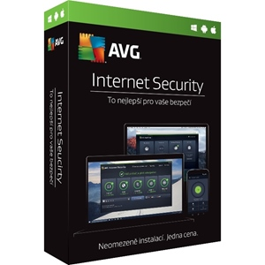 Obrázek AVG Internet Security 2018, licence pro nového uživatele, počet licencí 1, platnost 1 rok